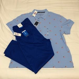 Blue pant polo outfit
